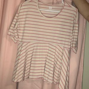 Pink and white striped boutique top
